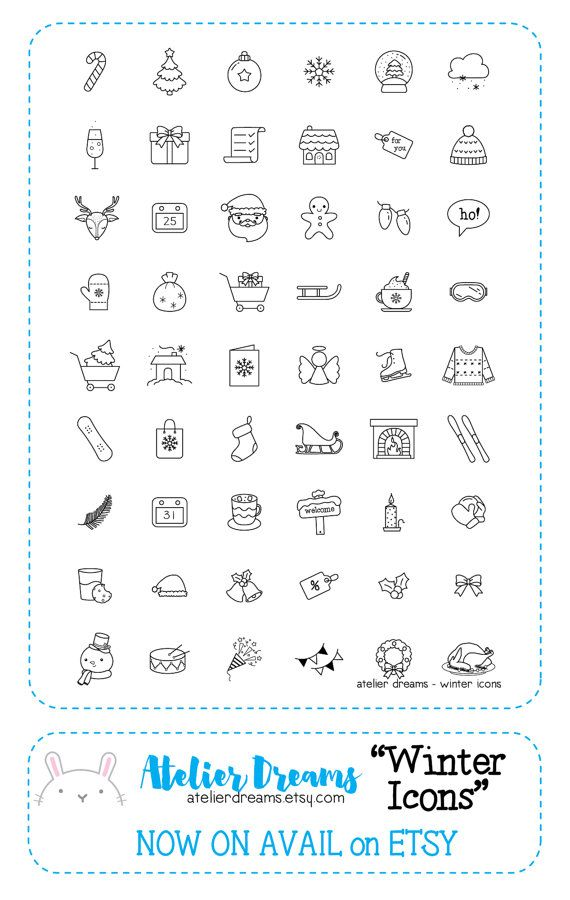 Winter Icons - Planner Stamps (Photopolymer Clear Stamps) decorative stamps, border stamps, festive stamps
