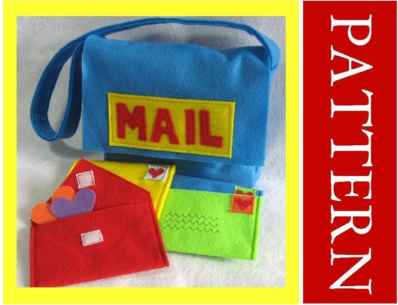 Major loves to pretend to be the mailman. felt mail bag and working envelopes. cool! want to try to make.
