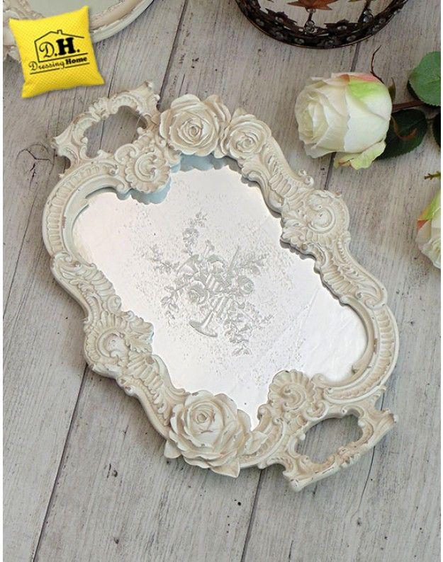 Vassoio Ovale con Manici e Specchio Shabby Chic Blanc Mariclo