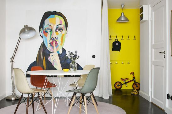 White + colour, Eames chairs