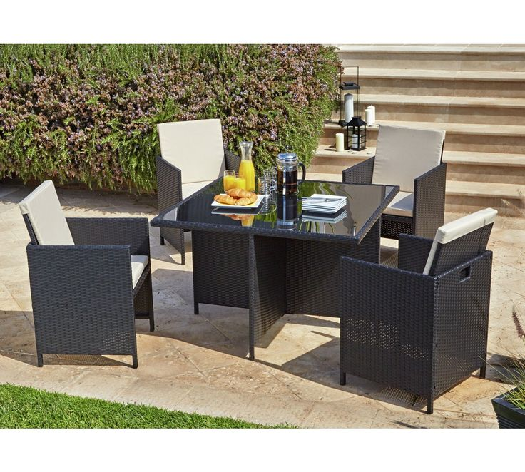 Buy Argos Home Cube 4 Seater Rattan Effect Patio Set
