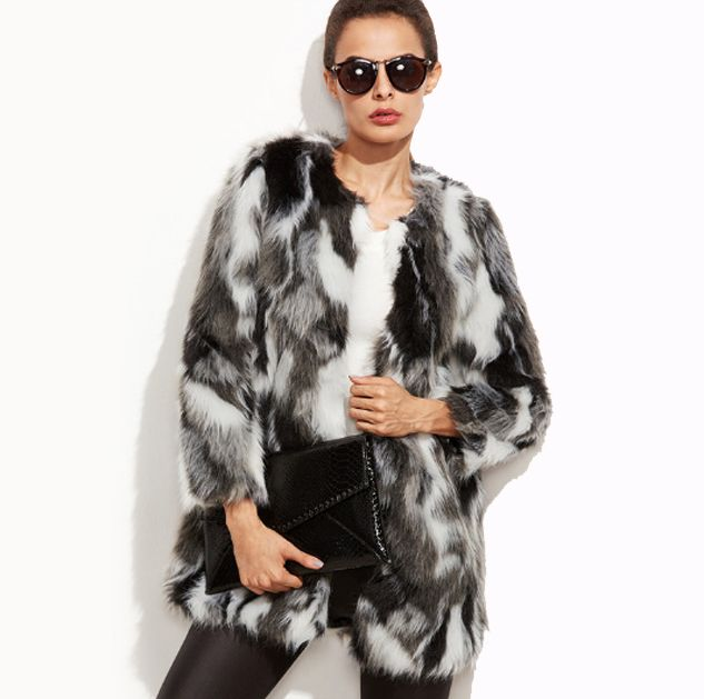 Grey Faux Fur Coat Womens Winter Jacket. Cozy and Warm its perfect as a Christmas Gift!