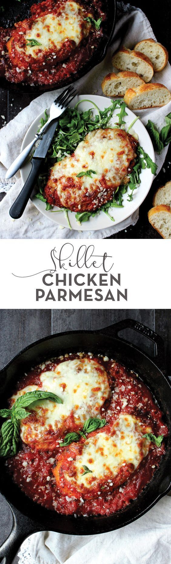 The perfect dinner for when you need a healthy comfort food splurge, this Skillet Chicken Parmesan is portioned for two and so crazy delicious! | date night dinner