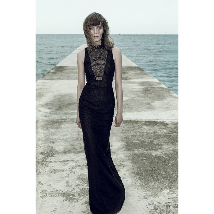 Ersa Atelier fw 2017 Redonda evening dress. Black french lace sheath evening gown hand embroidered with Swarovski pearls and crystals