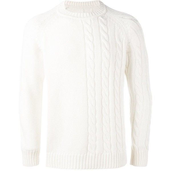 Lc23 crew neck jumper ($196) ❤ liked on Polyvore featuring men's fashion, men's clothing, men's sweaters, white, mens white sweater, mens crew neck sweaters, mens crewneck sweaters and mens merino wool sweater