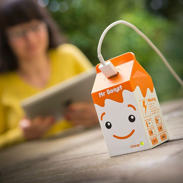 The Mr Booste Portable Charger is Shaped Like a Cute Juice Box #mobile trendhunter.com