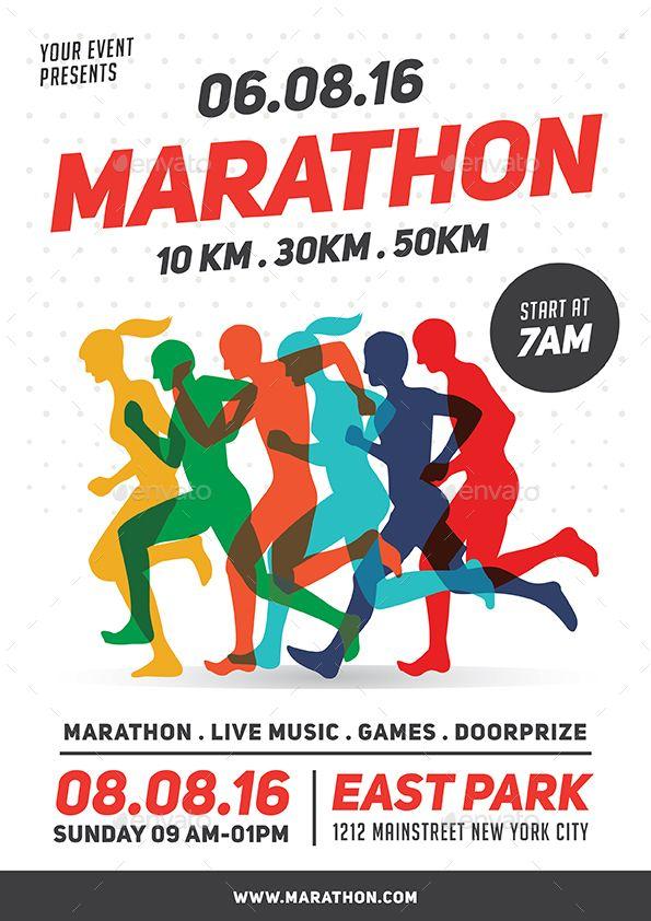 Marathon Event Flyer Template Paper cutting