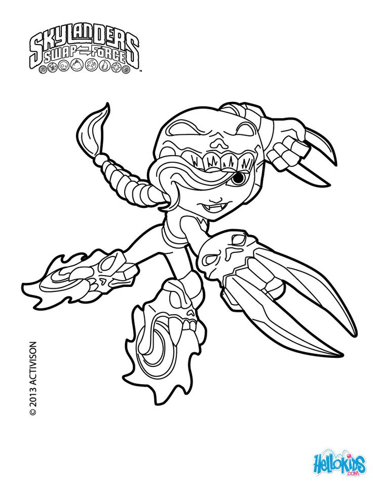 Skylanders Swap Force Coloring Pages Roller Brawl Coloring Pages Grayscale Coloring Books Coloring Pages To Print