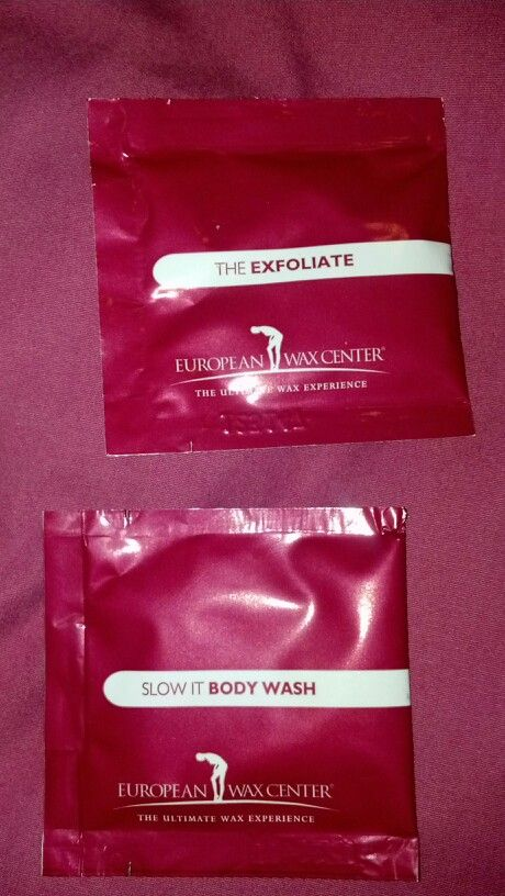 European Wax Center exfoliate and body wash packet.