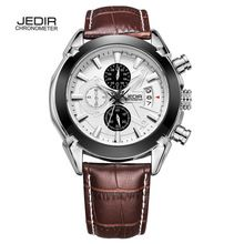 Relogio Masculino JEDIR Chronograph Function Mens Watches Genuine Leather Luxury Mens Brand Military Wristwatches MEGIR hombre(China (Mainland))