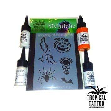 #Halloween #Special #Set Airbrush #Tattoo Tropical Gesamtfoliengröße: 14×10,7cm #Mylar #Mehrfachfolie Mylar #Folien sind dicker und mehrfach verwendbar. Nicht selbstklebend. Einfache Anwendung mit Sprühkleber. Ideal für temporäre #Airbrush-Tattoos und #Bodypaintings. Alle unsere #Folien sind mit #Lasertechnik produziert worden und dadurch sehr präzise