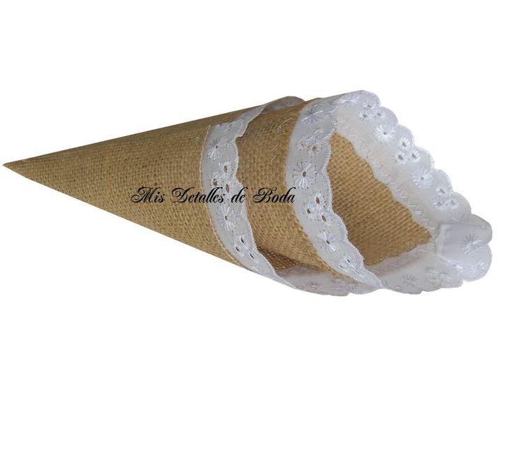 20 burlap petals cone  jute cones for petals mantains its shape white embroidery  decoration de Holaweddings en Etsy