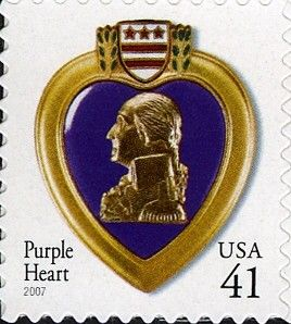 """Stamp: Wounded award """"Purple Heart"""" (United States of America) (Purple heart)…"""