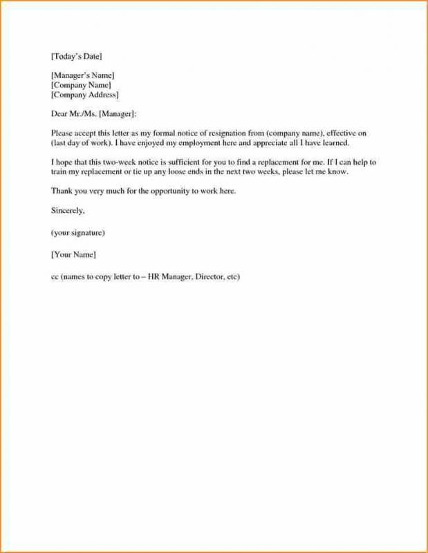 Two Week Notice Letter Two Week Notice Letter Lettering Letter Templates
