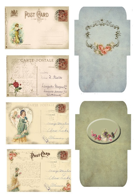 Free Vintage printables for personal use, postcards and gift envelopes     :)