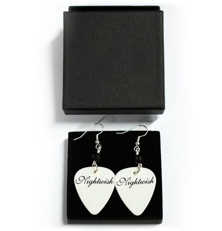 White Logo Earrings - Nightwish. Designed and made by Jaana Bragge.