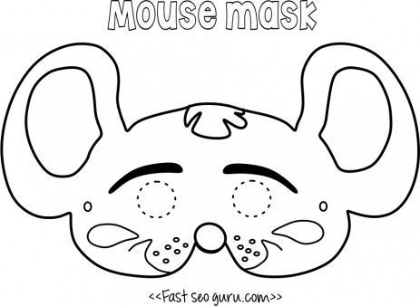 Printable #mouse #mask coloring page for kids.Free online