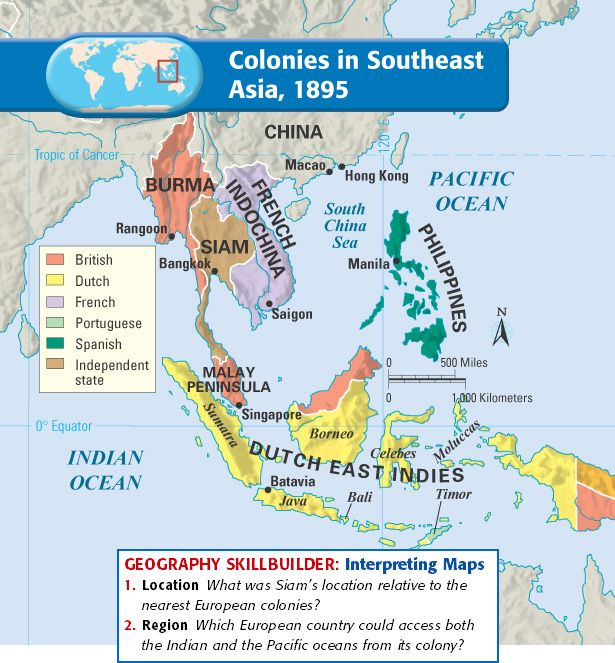 Asian ruled areas during 1800