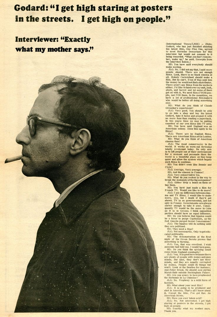 Interview with Jean-Luc Godard by Hermine Demoriane, published in IT (International Times) no. 39, 6-19 September 1968