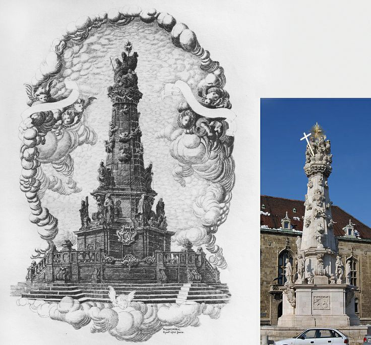 Moric Pogany's pen and ink drawing on the left shows the Holy Trinity Column (just outside St. Mattias Church in Budapest) with the base he designed for the coronation of the king.  Pogany's design was built for the coronation in 1916, but the base was damaged beyond repair in WWII bombing. The photo on the right shows the column as it is today.