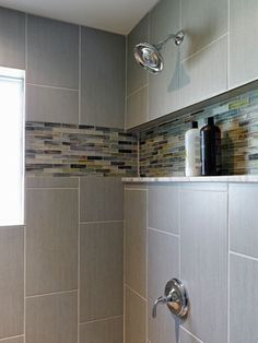 Love the in-set shelf for a new shower Morris House - midcentury - Bathroom - Baltimore -
