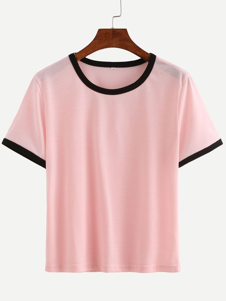 Shop pink contrast round neck t shirt online shein offers for T shirt offer online shopping