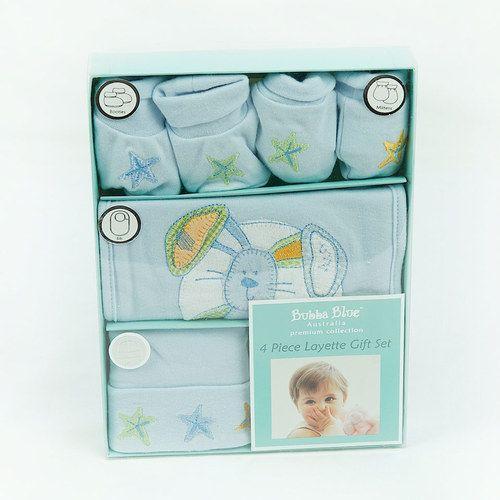 Blue Baby Boy 4 Piece Layette Gift Set