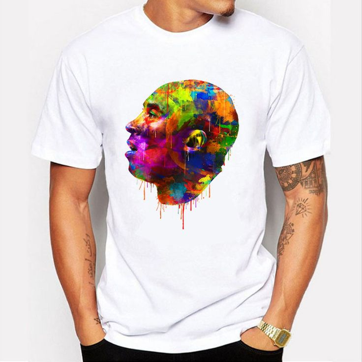 Kobe Bryant Avatar oil painting Design Men's T shirt Cool Fashion Tops Short Sleeve Tees