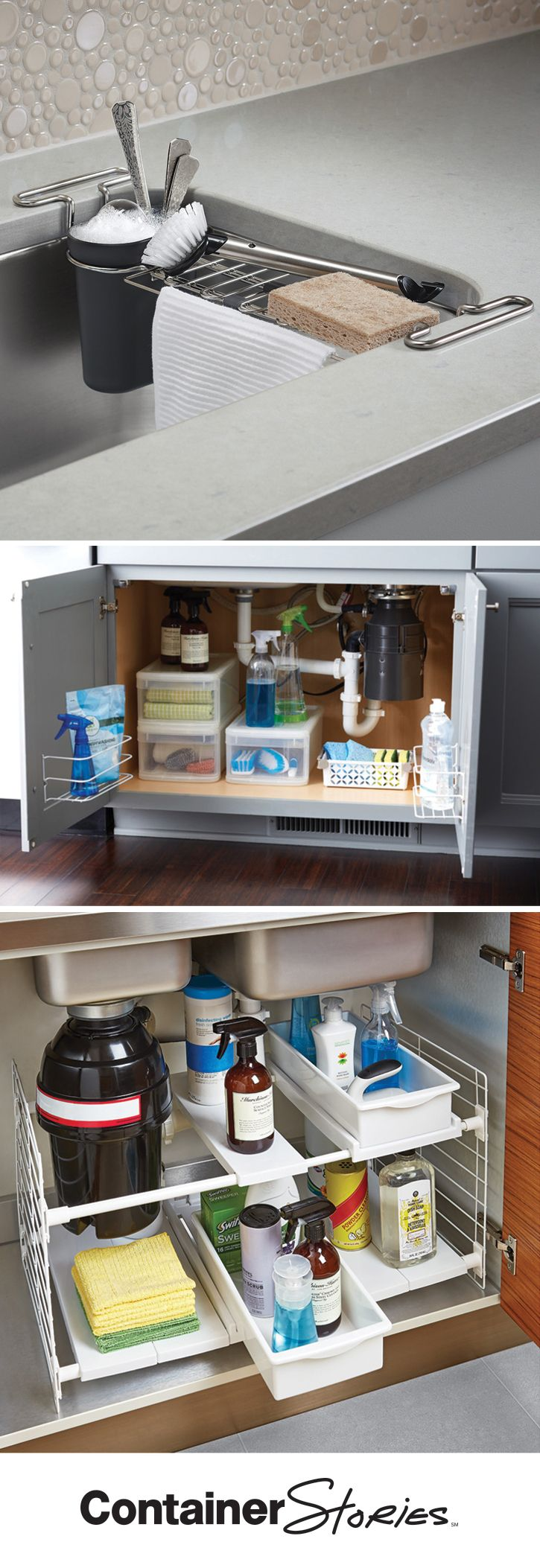Everything AND the kitchen sink! We'll show you the trick of the trade to organizing your sink and undersink cabinets.