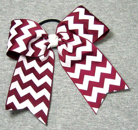 Big Cheer Bow - Large Maroon and White Hair Bow in a Chevron Stripe Pattern on Etsy, $7.50