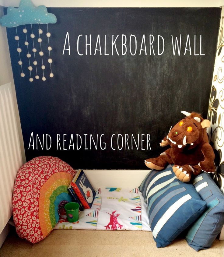 A toddler chalkboard wall and reading corner