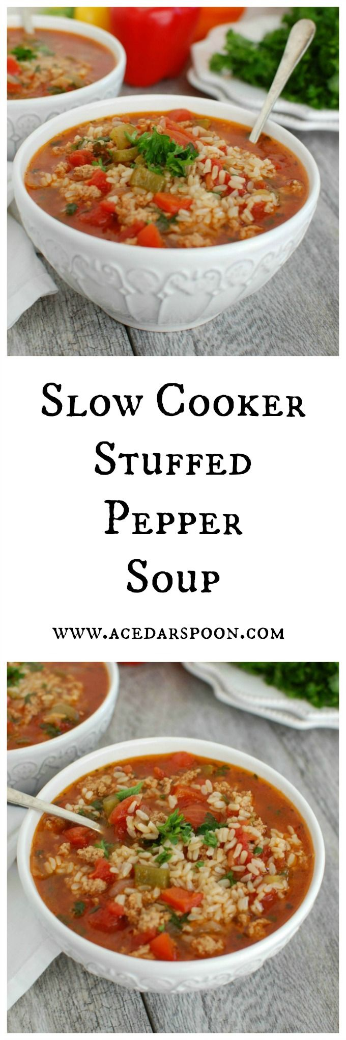 Slow Cooker Stuffed Pepper Soup takes the stuffed peppers you know and love and puts it into a soup. This soup mixes together ground turkey, bell peppers, tomatoes, spices and brown rice to create a hearty soup perfect for the colder months // A Cedar Spoon