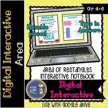 Area of Rectangles Digital Interactive Notebook is a Digital Interactive Notebook Resource to be used with Google Slides. Students work with the area of rectangles formula through notes, guided practice, and individual practice. Only whole numbers are used in this product.