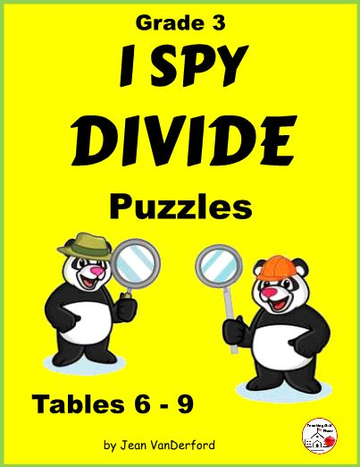 Division Facts Worksheet Puzzle Activity ... CORE MATH Grade 3 ... I Spy Divide is a great way to reinforce division facts ... Puzzles work the same as word searches but using numbers instead of words ... 5 puzzles, KEYS, Awards ...NO PREP ... DIVISION FUN ... Repeating the division patterns over and over will help students reinforce the facts as they search for dividends, divisors, and quotients ...