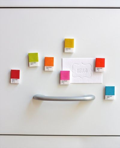 DIY Pantone chip magnets | How About OrangePainting Samples, Teachers Gift, Painting Chips, Pantone Chips, Pantone Magnets, Gift Ideas, Diy Gift, Graphics Design, Chips Magnets