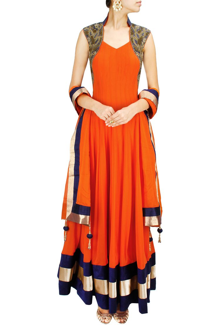 Orange and blue embroidered anarkali set BY AKSHAY WADHWA. Shop now at: www.perniaspopups... #perniaspopupshop #amazing #beautiful #clothes #style #designer #fashion #stunning #trend #new