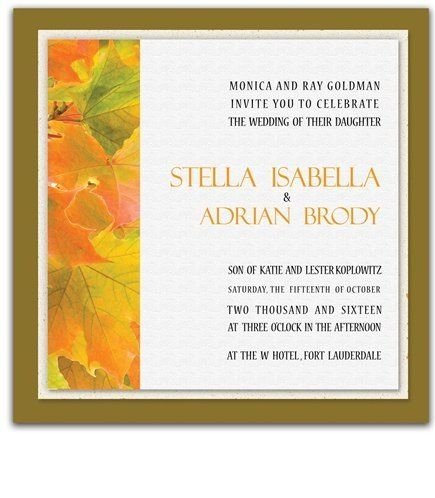 140 Square Wedding Invitations - Autumn Sunrise by WeddingPaperMasters.com. $366.80. Now you can have it all! We have created, at incredible prices & outstanding quality, more than 300 gorgeous collections consisting of over 6000 beautiful pieces that are perfectly coordinated together to capture your vision without compromise. No more mixing and matching or having to compromise your look. We can provide you with one piece or an entire collection in a one stop shopping exp...