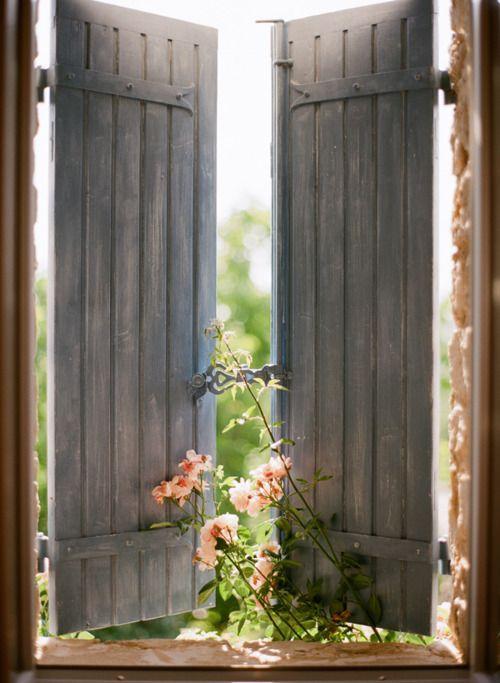 shutters: Doors, Old Shutters, Gardens, Mornings Coff, Mornings Lighting, Country Life, Windows Shutters, Flower, Ventana