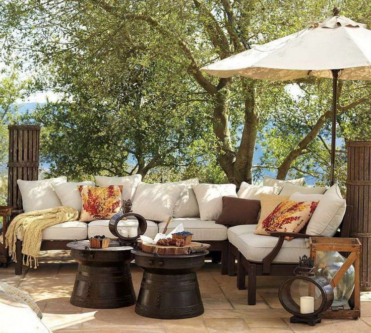 Outdoor Living Area With Outdoor Dark Wood Furniture Under The Tree View  Need To Build Patio? Donu0027t Forget To Get Modern Patio Furniture Home  Decoration Part 41