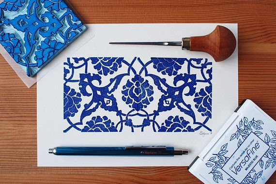 Traditional Turkish Tile  Limited Edition Handprint