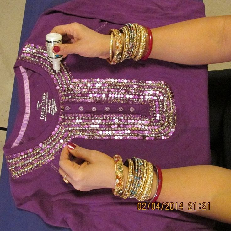 HOW TO DECORATE A T-SHIRT OR BLOUSE WITH SEQUINS AND BEADS AND GIVE IT A...