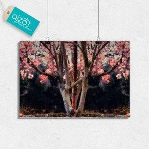 Plakat magnolia power - malarstwo z drzewem magnolii. #sztuka #malarstwo #obraz