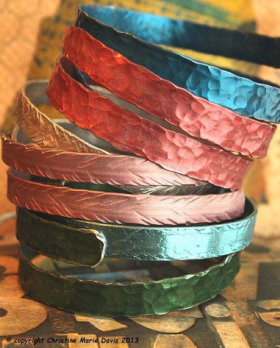 French Blue smashed metal knitting needle BANGLE with button tips... fun vintage boho GYPSY style bracelet -  #4