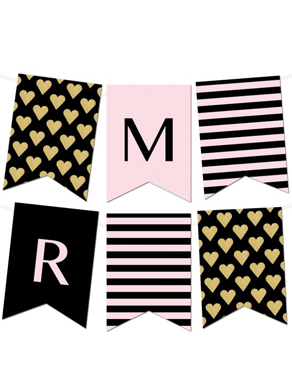 Free Printable Striped Gold Heart Banner Maker from printableweddings.com