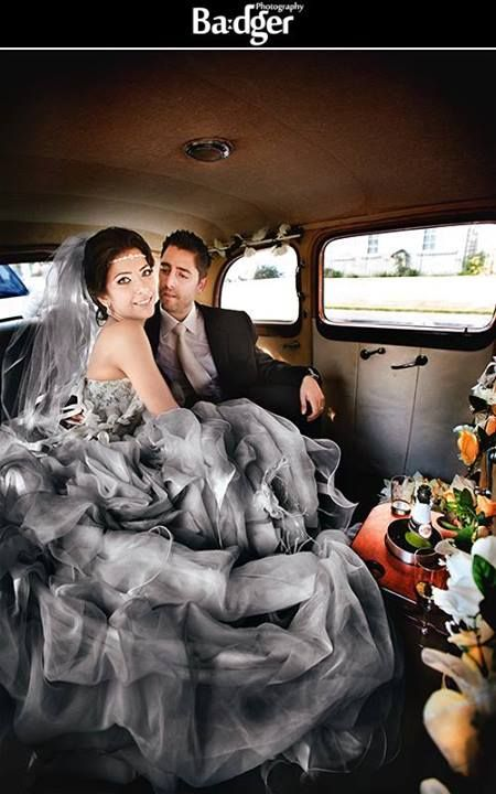 Just married! Bride & Groom in limo after champagne toast - Armenian wedding in Montreal by Badger Photography
