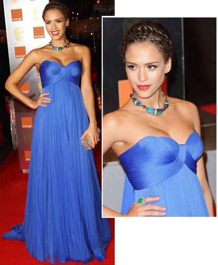 Jessica Alba vestido azul
