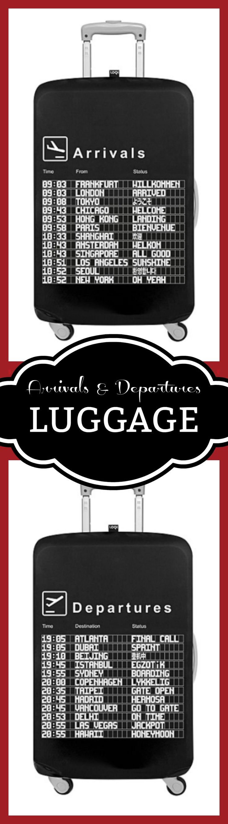 Celebrate life's journeys with this luggage cover modeled after airport status screens