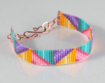 Native Bows Bead Loom Friendship Bracelet Bohemian por PuebloAndCo