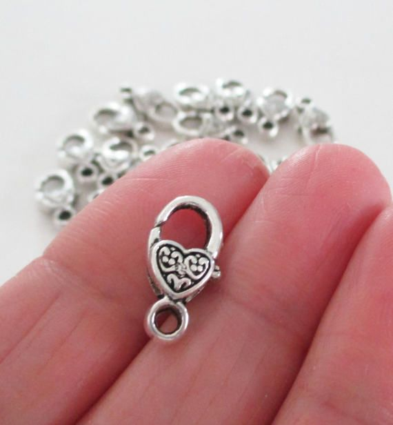 Silver Lobster Clasp  Heart Shaped Lobster Clasp  17mmx9mm