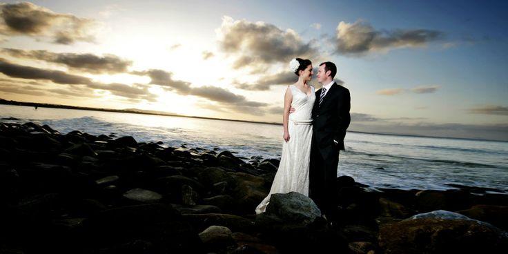 Bride & Groom + sunset, rocks